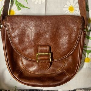Vintage structured brown leather crossbody